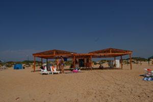 Кабинки для переодевания, солнцезащитный навесы, туалет и кафе Бавария Витязево